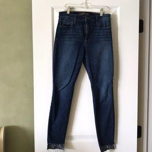 Joe's High-Rise Dark Wash Jean w/ unhemmed leg